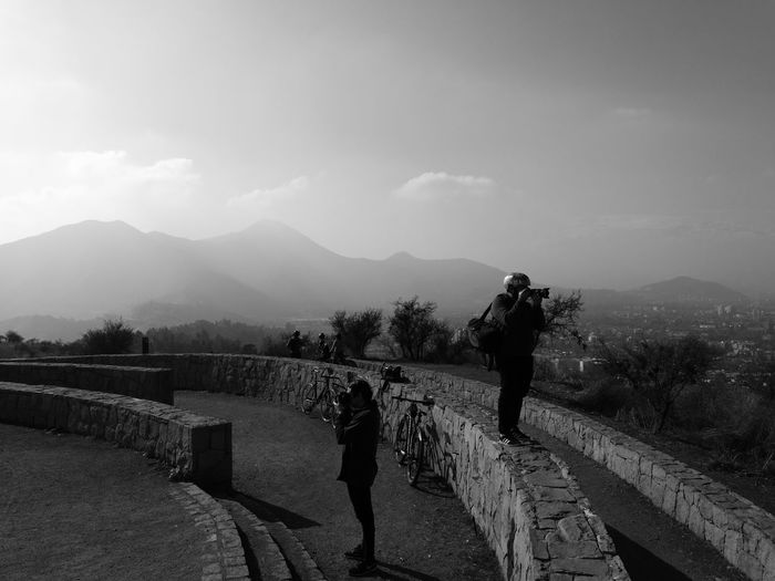 Black And White Blackandwhite Black And White Photography Cicling No Filter Cicling By The City Photography Themes Tree Mountain Men Full Length Sky Focus On Shadow Camera - Photographic Equipment Photographer Photographing Shadow Foggy Silhouette Hiker Photographic Equipment