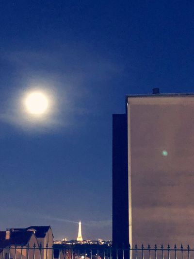 Moon Illusion Paris Tour Eiffel Architecture Built Structure Building Exterior Sky Night No People Illuminated Moon Nature Building City Full Moon Clear Sky Blue Moonlight