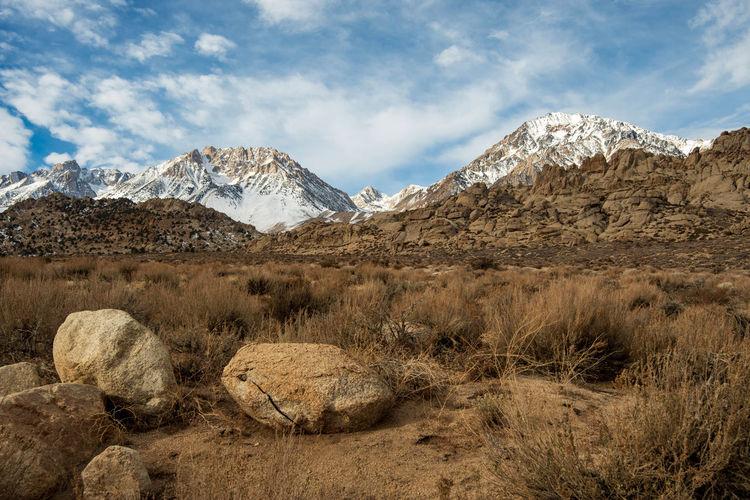 Boulders in the buttermilks rock climbing region sierra nevada snowy mountains california