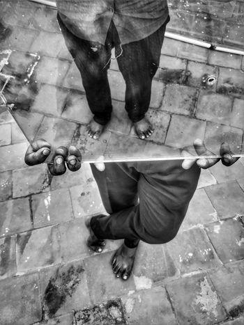 Mirror Illusion Prespective Mobilephotography Snapseed Mobilemag Oneplus5 India Bnw Blackandwhite Monochrome Water Human Foot Manhole  Toenail Feet Pedicure Shoe Human Toe Sole Of Foot Visual Creativity EyeEmNewHere