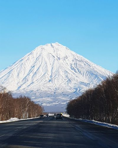 Koryaksky vоlcano #volcano #kamchatka #Road Mountain Tree Snow Clear Sky Cold Temperature Winter Road Blue Snowcapped Mountain Sky Highway