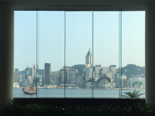 HongKong Architecture Built Structure City Tall - High Skyscraper Cityscape Urban Skyline Sky Window View Sailboat Hong Kong Victoria Harbour Good Weather Window Frame