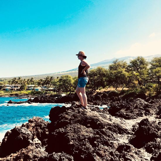 View Maui Hawaii Sky Water Sea Standing Leisure Activity One Person Go Higher Beach Vacations Nature Outdoors Real People Day Beauty In Nature Clear Sky Scenics Horizon Over Water Lifestyles Blue Full Length A New Beginning