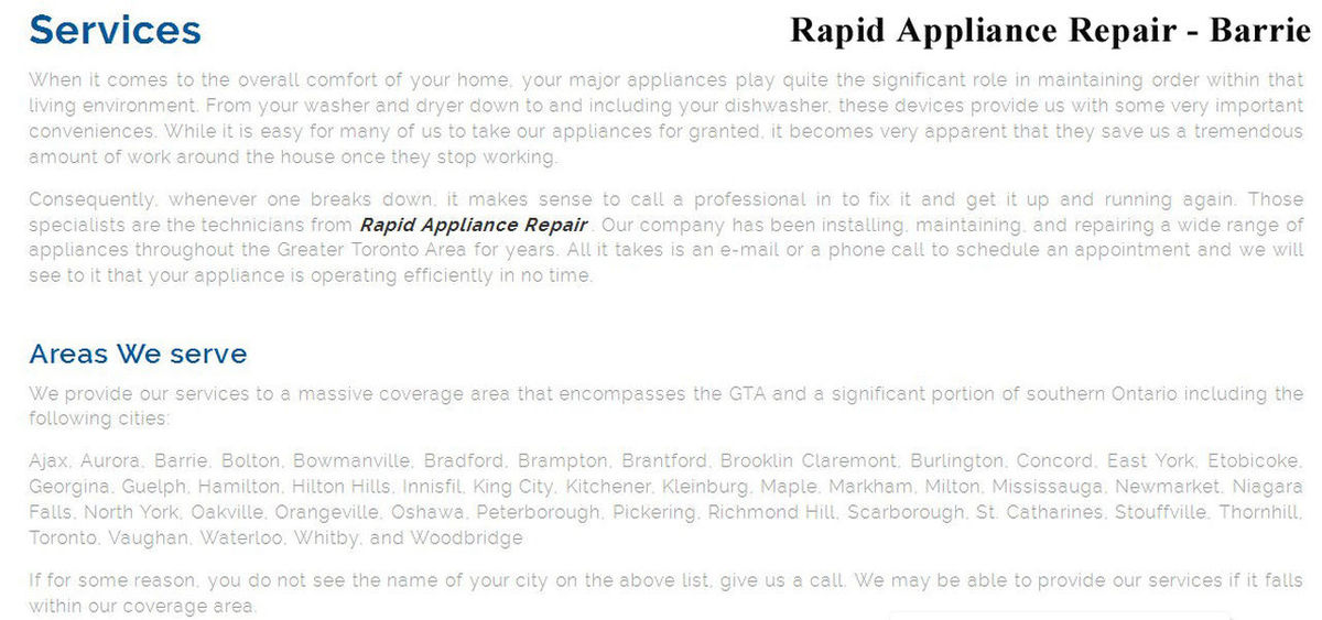 Rapid Appliance Repair 49 High St #406 Barrie, ON L4N 5J4 800-828-0856 Appliance Repair Barrie Appliance Repair Barrie ON Appliance Repair In Barrie Barrie Appliance Repair Barrie ON Appliance Repair