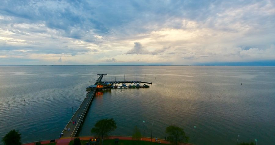 Cloud - Sky Water Outdoors Horizon Over Water Pier Mobile Bay Sunset