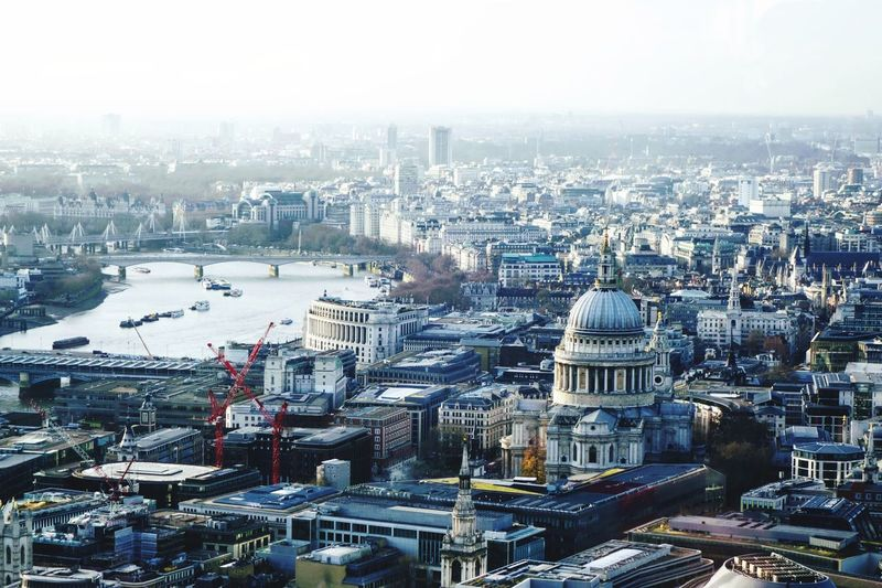 Scene over London towards the Thames The Big Smoke No People Haze No People River Thames River City Cityscape Urban Skyline Skyscraper Aerial View Ferris Wheel Sky Architecture Building Exterior Tall - High High Rise