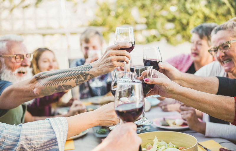 Happy trendy family cheering with red wine at barbecue dinner outdoor - Different age of people having fun at sunday meal - Food, taste and summer concept - Focus on right bottom hand glass Group Of People Men Celebratory Toast Togetherness Glass Women Males  Food And Drink Holding Wine Smiling Bonding Friendship Hand Mature Adult Adult Friends Family