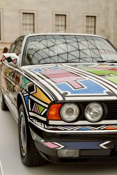 Esther Mahlangu's BMW Art Car Artcar Bmw Building Exterior Car City Close-up Day Esther Mahlangu Geometric Lights Multi Colored Ndebele No People Outdoors Pattern Southafrica Wheels