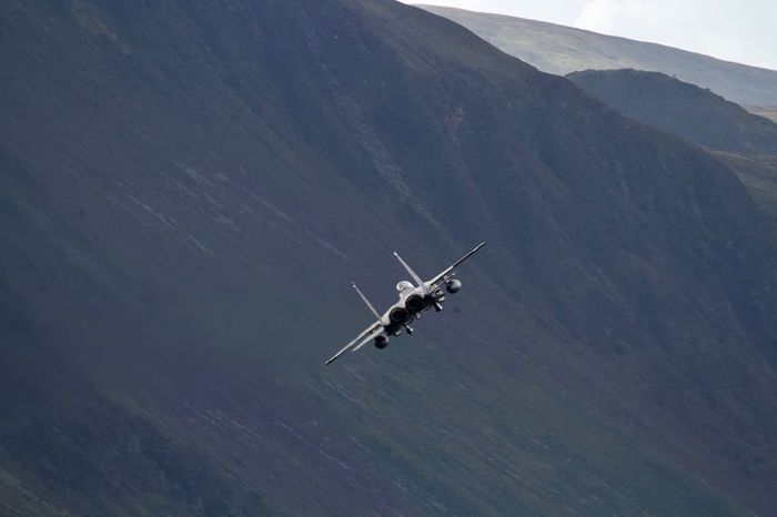 USAF F15 in the Mach Loop Mach Loop The Mach Loop F15eagle F15 F-15 Eagle F-15 USAF United States Air Force Transportation Air Vehicle Mode Of Transportation Helicopter Flying Aerial View Airplane