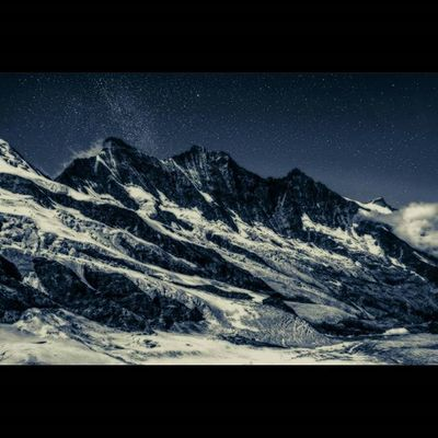 Starry Night over the Dom Alps Night Stars Nightsky Dom Alpine Switzerland Saasfee Valais Milkyway Snow Glacier CH