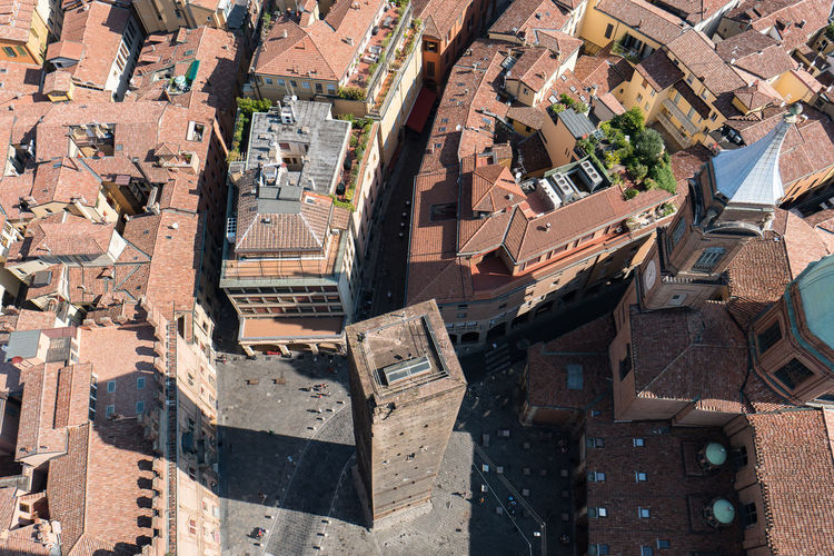 High Angle Shot Of Rooftops