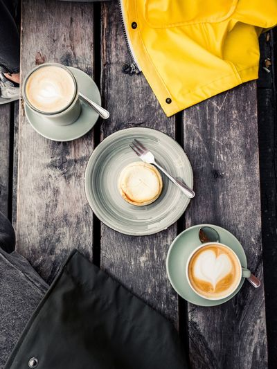 Break. Drink Refreshment Food And Drink Coffee Coffee - Drink Cup Still Life Coffee Cup Mug Table Hot Drink High Angle View Cappuccino Indoors