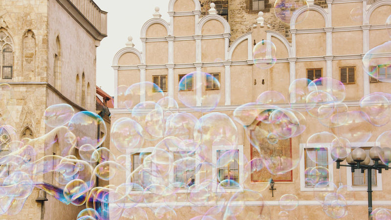 I want to pop them all. Bubbles Pastel Power Color Entretainment Fragility Making Bubbles Soap Soap Bubbles Street Urban Yellow