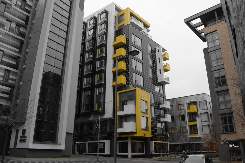 Allmyphotography Architecture Black And White And Yello Building Exterior Built Structure City Day Façade Manchester Nikon No People Outdoors Sky Skyscraper Street Shots Window Paint The Town Yellow Colour Your Horizn