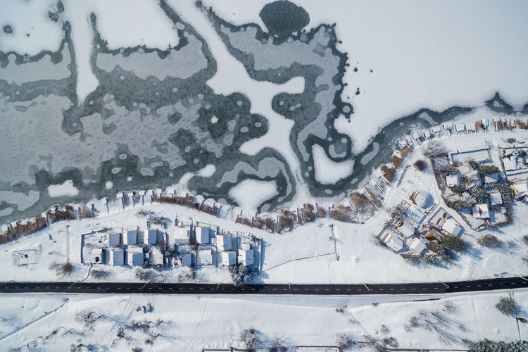 Drone  Houses Hungary Architecture Building Building Exterior Built Structure City Cold Temperature Day Frozen High Angle View Lake Land Nature No People Orf Outdoors Sky Snow Water White Color Winter