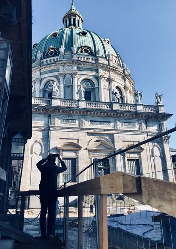 ShotOnIphone Taking Photos Of People Taking Photos Silhouette Architecture Built Structure Religion Place Of Worship Real People Spirituality Outdoors Building Exterior Dome Low Angle View Day Sky One Man Only One Person
