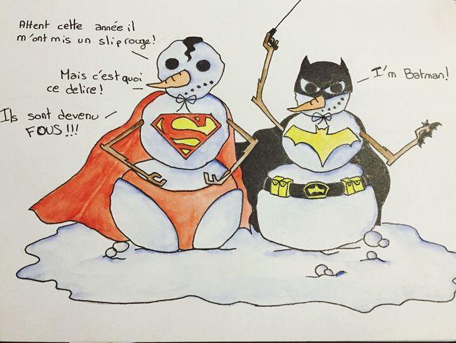 Superman Batman DComics Bonhommedeneige Noël Art Drawing Snowman Humour