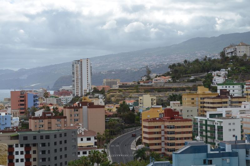 Puerto De la Cruz, Tenerife Canary Island Spain Building Exterior Built Structure Architecture City Building Sky Cloud - Sky Residential District Cityscape No People Day Mountain Outdoors High Angle View Community