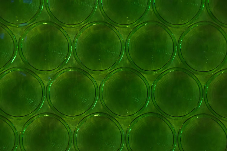 Full Frame Shot Of Patterned Green Glass Wall