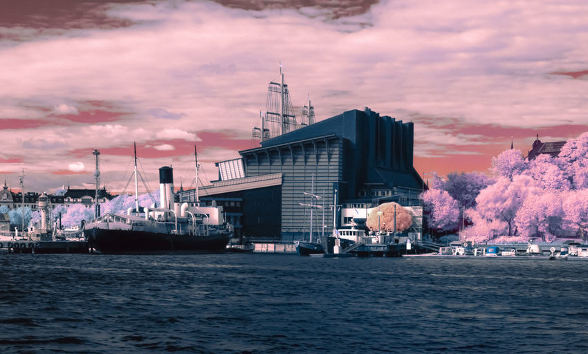 Stockholm [IR]. I wish everyone a happy Friday and wonderful weekend! Architecture Building Exterior Built Structure City Cloud - Sky First Eyeem Photo Nature Nautical Vessel No People Outdoors Sky Sunset Transportation Travel Water Waterfront