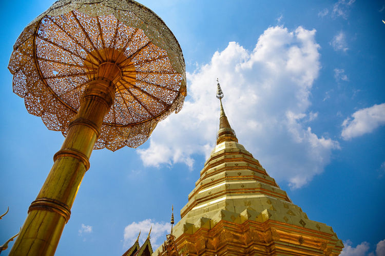 Low angle view of traditional building against sky,wat phrathat doi suthep chiang mai thailand.