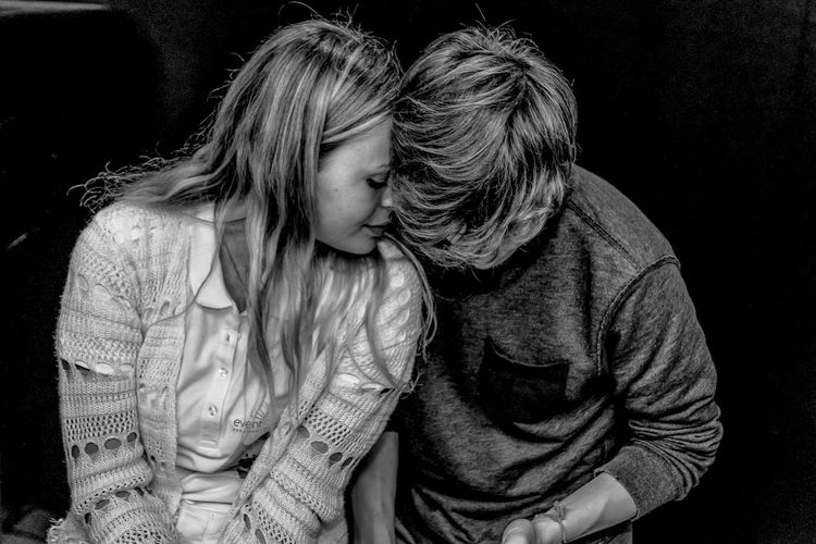 Black Background Blackandwhite Photography Bonding Casual Clothing Check This Out Embracing Love Love Is In The Air Love ♥ Lovelovelove Lovely Love♥ Nikon D5500 Nikonphotography Person Portrait Portrait Photography Portraiture Portraiture; B/W Photography Portraiturephotography Studio Shot Tenderness Togetherness