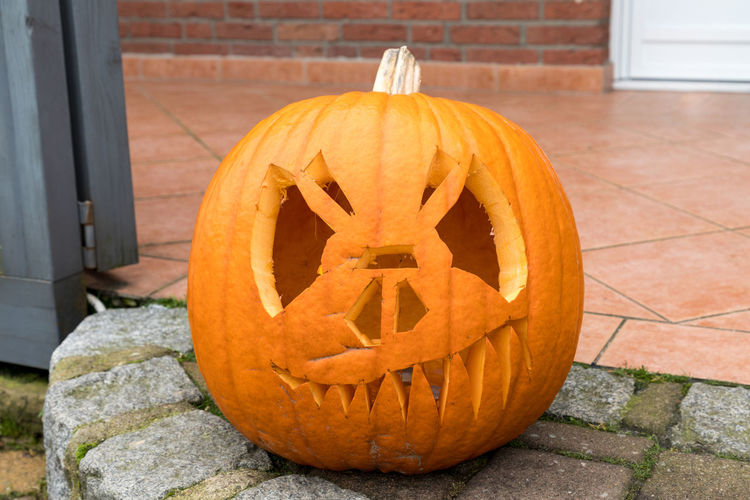 View of pumpkin on stone wall during halloween