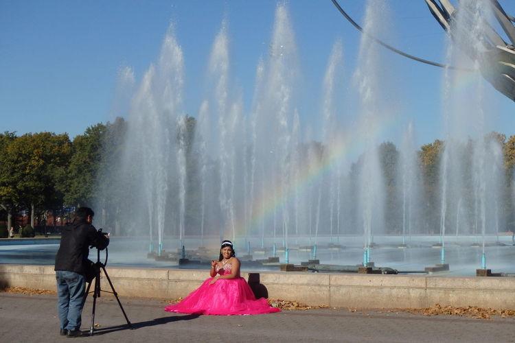Flowing Water Fountain Outdoors Photographer Rainbow Spraying Sunbeam Under The Rainbow Unisphere Water Weekend Activities