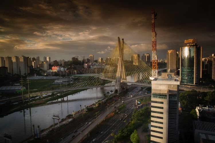 Up Close Street Photography Streetphotography Brazil City Skyline Bridge Man Made Object Traffic Sao Paulo - Brazil Metropolis Transport High High Angle View Sunset Economy South America