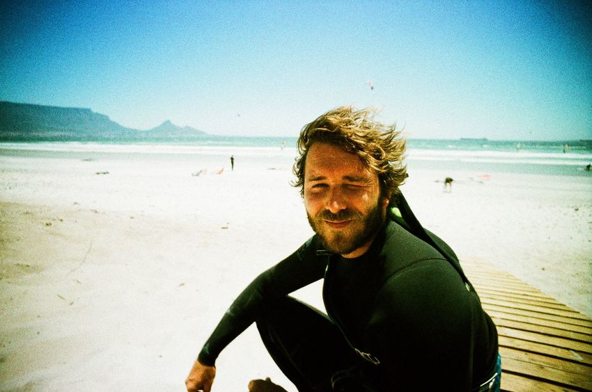 Analogue Photography Beach Beach Day Blue Clear Sky Horizon Over Water Leisure Activity Lifestyles Ocean Portrait Sand Sea Shore South Africa Sunlight Sunny Surf Surfer Surfer Dude Surfing Table Mountain Vacations Vignette Water Wetsuit