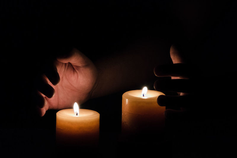 Warmth Burning Candle Darkroom Fire - Natural Phenomenon Flame Glowing Hands Heat - Temperature One Person Warmth