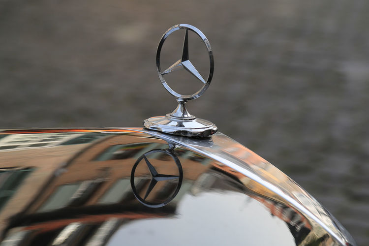 Black Car Close-up Focus On Foreground Mercedes Star Mercedes-Benz No People Old Car Oldtimer Outdoors Part Of Reflection Reflection_collection Reflections Selective Focus
