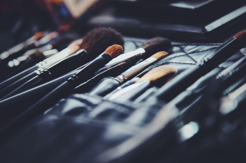 Close-up of make-up brushes