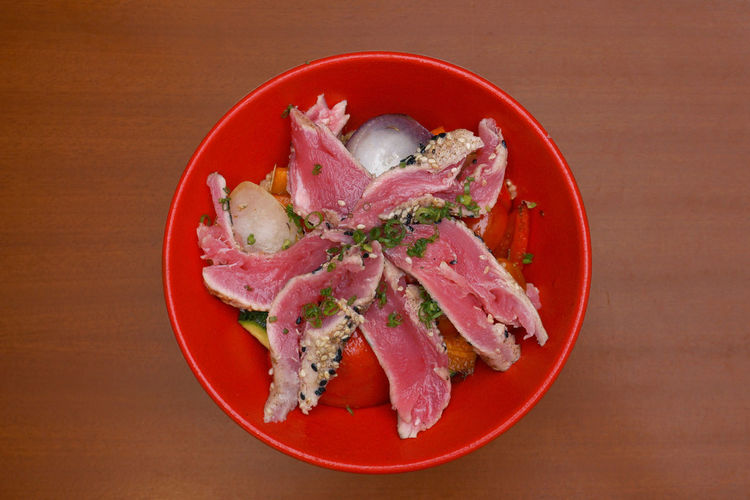 Tuna in a bowl lunch Bowl Close-up Food Freshness Healthy Eating Indoors  Red Rice Bowl Malaysia Sashimi  Seafood Table Torched Fish Tuna