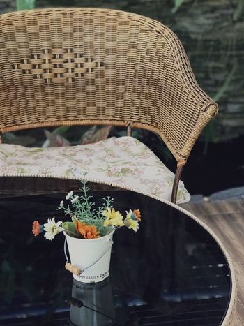 Desk Chair Chairs Seats Home Interior Flower No People Chair Fragility Close-up Freshness Burning Nature Outdoors Day Beauty In Nature Table Focus On Foreground Chairs And Tables