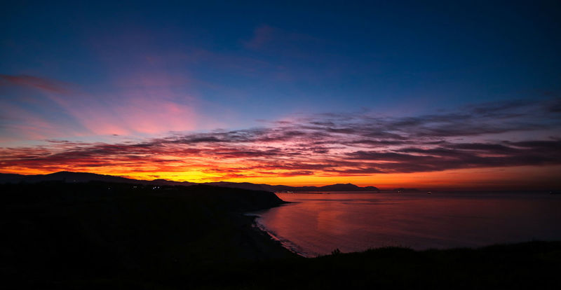 Basque Country Beauty In Nature Bizkaia Calm Cloud - Sky Euskadi Hora Azul Landscape Landscape_Collection Nature Night No People Outdoors Scenics Sea Seascape Silhouette Sky Sunset Tranquil Scene Tranquility Travel Destinations Water The Great Outdoors - 2017 EyeEm Awards