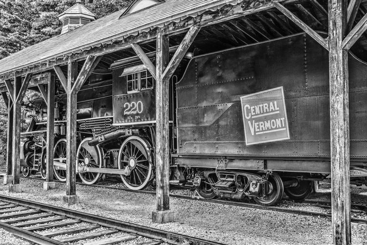 Blackandwhite Close-up Day Finding New Frontiers Locomotive Locomotive Engine No People Outdoors Railroad Railroad Station Railroad Station Platform Technology Text Train Train Station Train Tracks Transportation Vermont