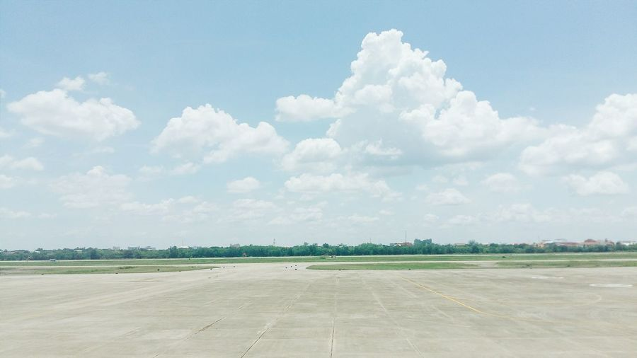 Blue Sky Airport Runway Cluods And Sky