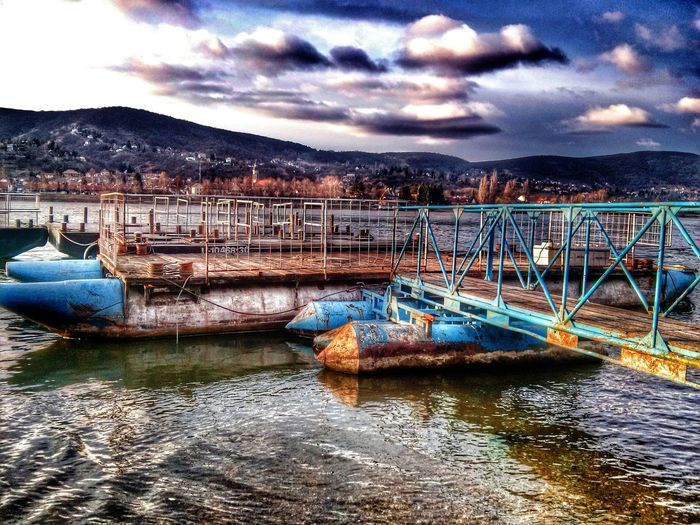 Docks Port River Visegrad Mountains Clouds Sky