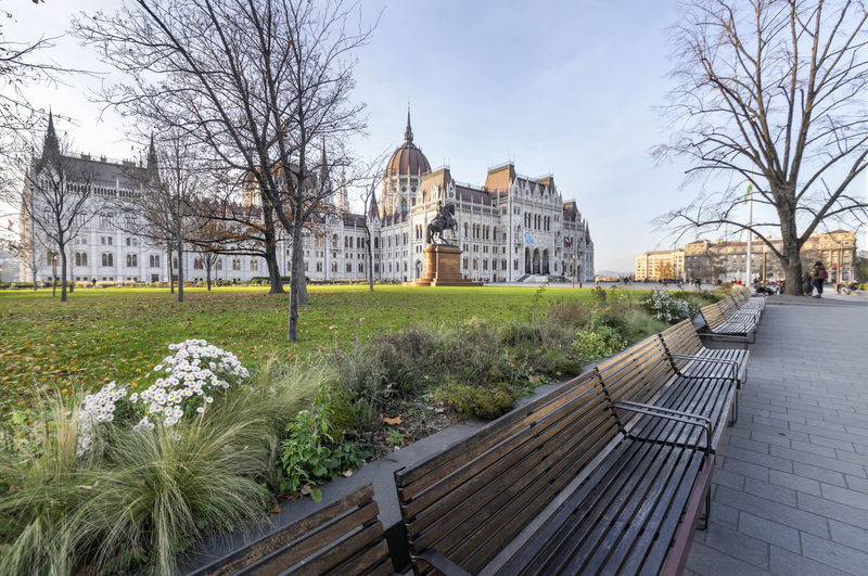 View of park with buildings in background