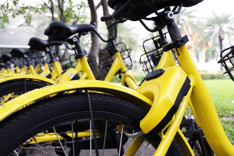 Rows of bright yellow public rental bikes on a street. Bicycle Bicycle Rack Close-up Day Focus On Foreground Land Vehicle Mode Of Transport No People Outdoors Stationary Transportation Wheel Yellow
