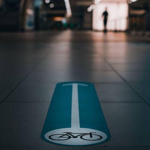 Information sign on floor in city