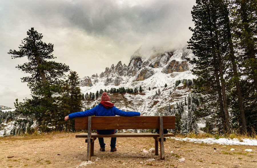 Watching the peak... Adventure Bench Cold Temperature Colors Destination Destinationwedding Dolomites Hiking Landscape Man Mountain Mountains Nature One Person Panoroma Quiet Relaxing Moments Remote Scenics Silence Snow Traveling Watching Lost In The Landscape