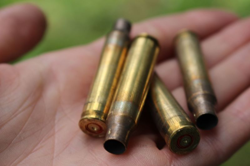 Cropped Image Of Hand Holding Bullets
