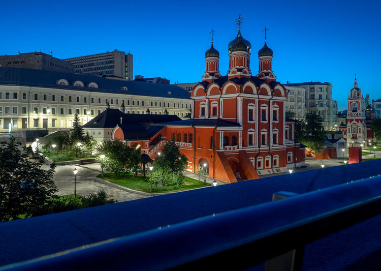 Russia, Moscow, center of Moscow, Varvarka street Moscow Russia Varvarka Street Architecture Belief Blue Building Building Exterior Built Structure Center Of Moscow City Illuminated Nature Night No People Place Of Worship Religion Sky Spirituality Swimming Pool Travel Travel Destinations Tree