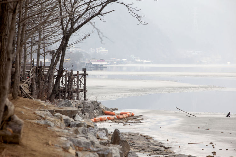 Scenic view of frozen beach during winter