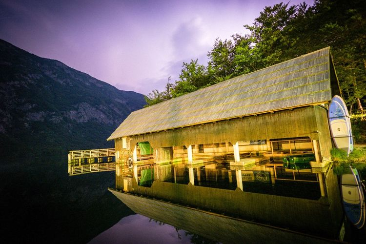 Camp Zlatorog Bohinj Architecture Built Structure Building Exterior Building Plant Mountain Tree Landscape Beauty In Nature Scenics - Nature Night Outdoors Cloud - Sky