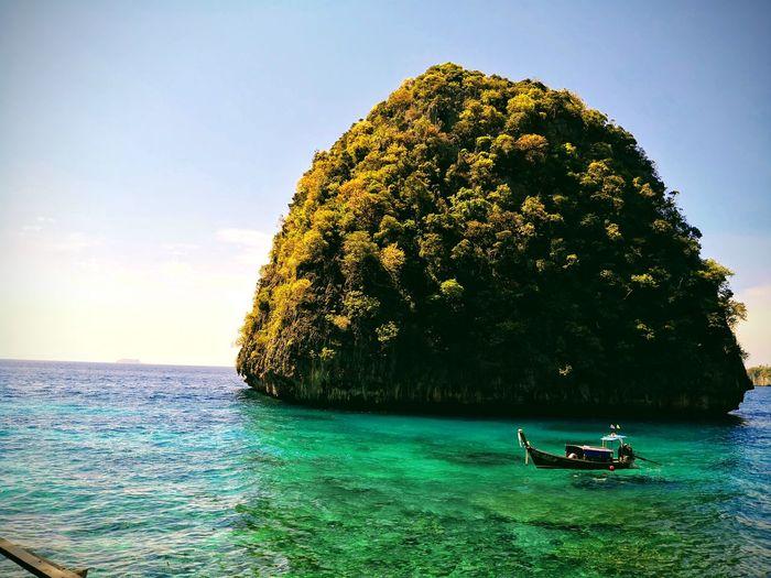 Lo Sa Ma Bay Phuket Lo Sa Ma Bay Tree Water Sea Men Beach Sky Grass Green Color Boat Calm Tranquil Scene Coast Ocean EyeEmNewHere My Best Travel Photo