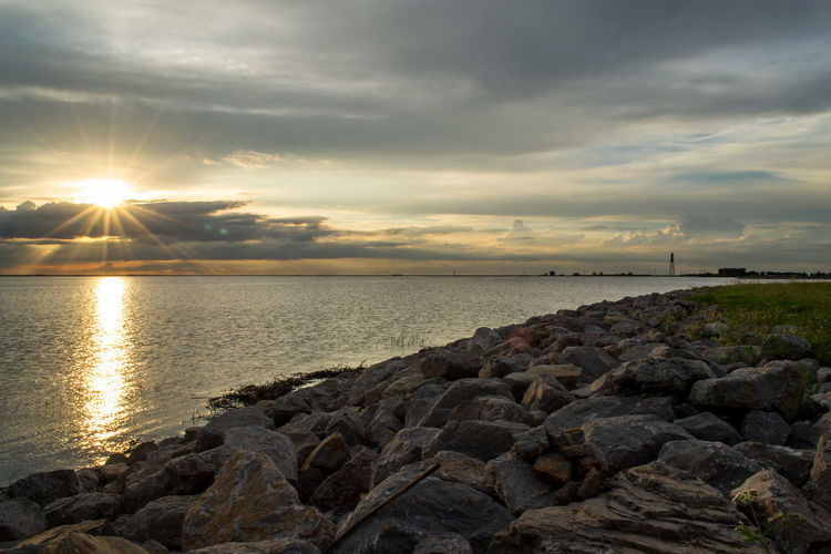 Lake Hefner sunset by, Cooper Billington Oklahoma Beauty In Nature Cloud - Sky Horizon Over Water Nature Outdoors Photography Scenics Sky Sunlight Sunset Water