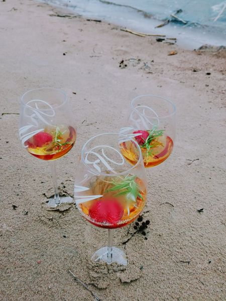 Beach Sand Bubble Water No People Sea Day Nature Multi Colored Outdoors Fragility Close-up Colors Glasses Strawberries Rosemary Herb Trio Springtime Celebration Drinks May Day Visual Feast Live For The Story Wine Not